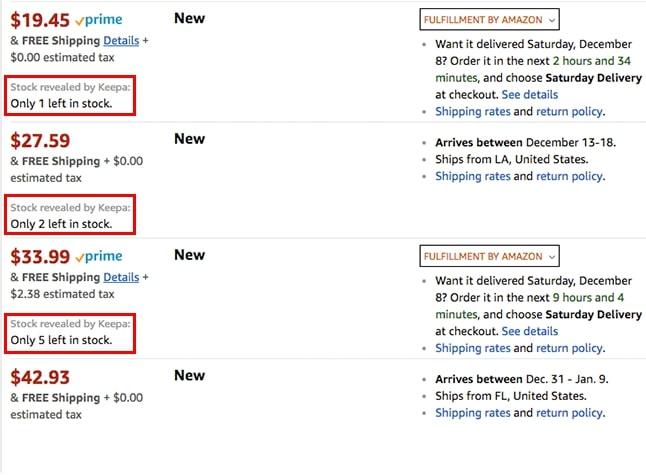 Espiar inventario Amazon Keepa